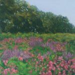 Margaret Hendricksen  <b>Pink and Purple Field </b> Pastel,  9 x 9