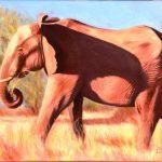 Lydia Mack  <b>Elephant,  Ehlanzeni,  South Africa </b> Oils on canvas,  9 x 12