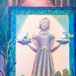 <b>AWARD OF MERIT</b><br>Lawrice Recie Dolan<br> <b> Peace in the  Garden <br>of Good and Evil <br></b> Watermedia Collage.  48 x 24