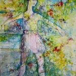 Renee Keil <b> Dancer in the Garden </b> Acrylic and Pastel,  48 x 36