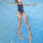 Marcia Koynok <b> Girl Afloat </b> Oil on canvas,  36 x 24
