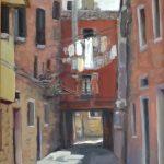 Marcia Koynok <b> Stones and Fabric/Venice </b> Oil on gesso board,  16 x 13