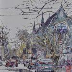 Eileen Sudzina <b> Turn Left on 5th at Church </b> Watercolor on yupo,  20 x 26