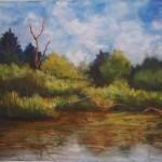 Shirley Knoblach,  Confluence<br> <b>Summer River</b><br> Pastel<br> 16 x 20<br>