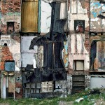 Elizabeth Asche Douglas<br> Rochester<br> <b>Condemned House</b><br> ultrachrome & acrylic paint<br> 17 x 21 (21 x 25)<br>