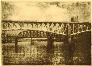 Thomas Norulak, Bridges on the Mon Etching 5 x 7
