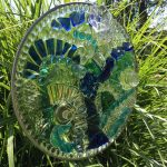Cindy Mullen  <b>Blues </b> Recycled 3-Dimensional Glass on Glass Panel,  15  round